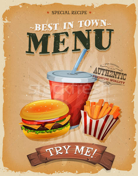 Grunge And Vintage Fast Food Menu Poster Stock photo © benchart