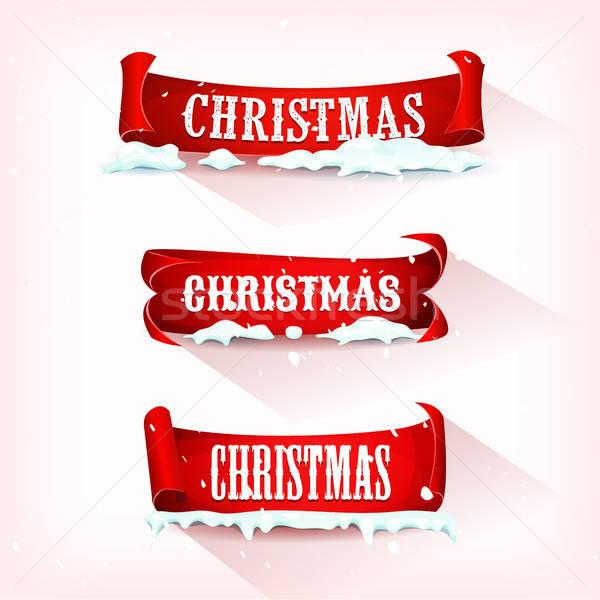 Weihnachten Pergament blättern Schnee Illustration Set Stock foto © benchart