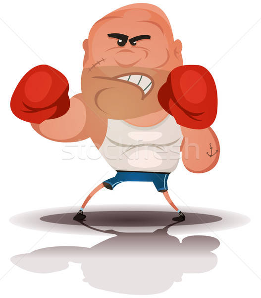 Cartoon Angry Boxer Champion Stock photo © benchart