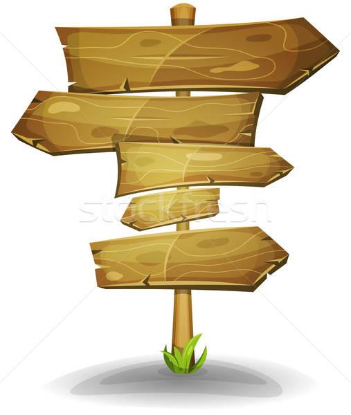 Madeira sinais de trânsito ilustração desenho animado cômico Foto stock © benchart