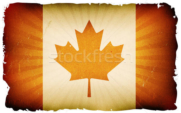 Vintage pavillon affiche illustration drapeau canadien rouge Photo stock © benchart