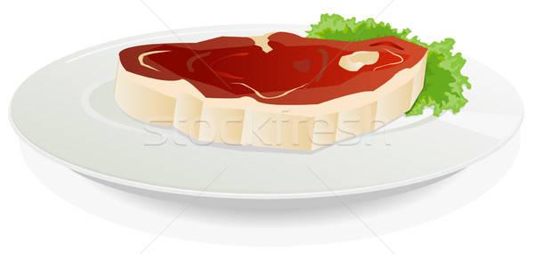 Kawałek surowy mięsa naczyń Sałatka ilustracja Zdjęcia stock © benchart