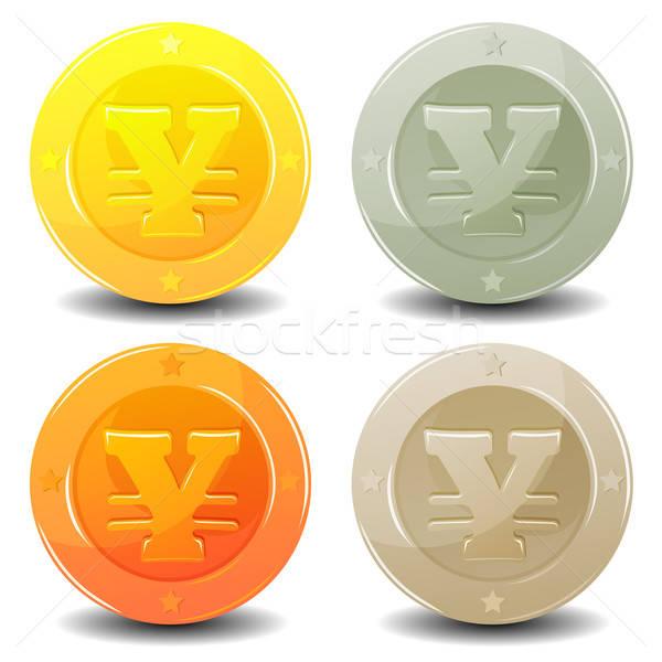 Yen monedas establecer ilustración brillante Foto stock © benchart