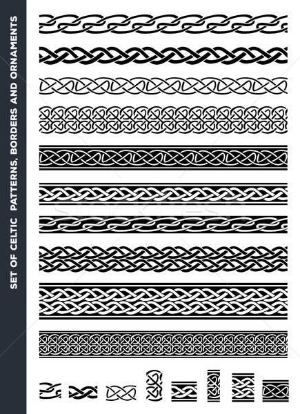 ケルト パターン セット 実例 黒白 ストックフォト © benchart