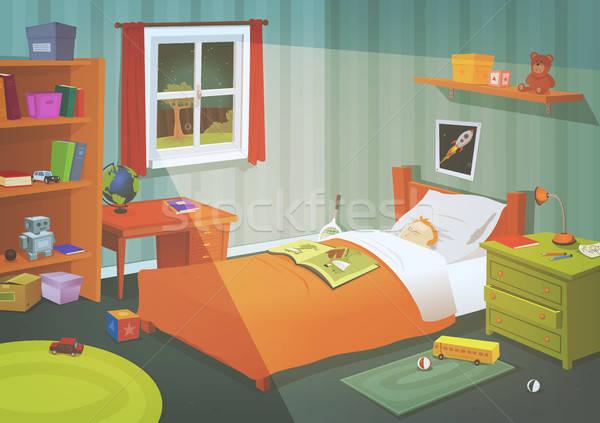 Nino adolescente dormitorio luz de la luna ilustración Cartoon Foto stock © benchart