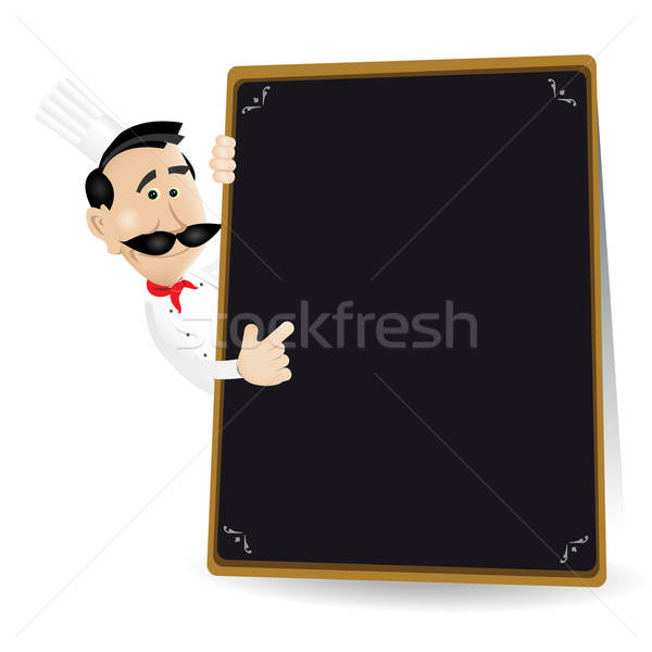 Chef Menu Holding A Blackboard Showing Today's Special Stock photo © benchart