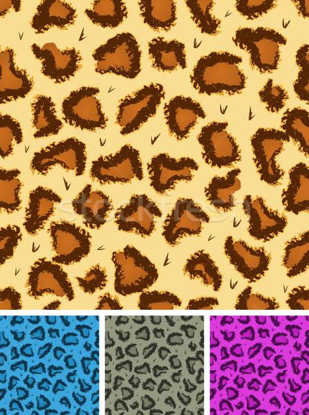 Sem costura leopardo leopardo pele ilustração conjunto Foto stock © benchart
