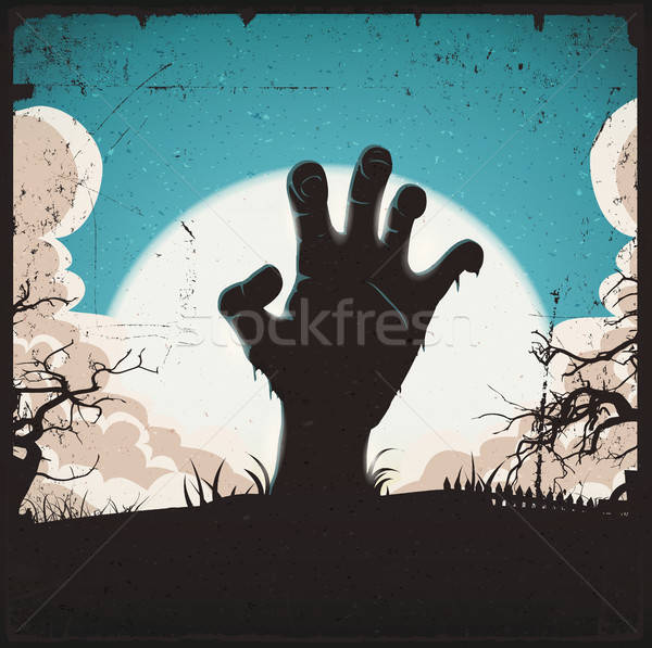 Undead Zombie Hand On Halloween Background Stock photo © benchart