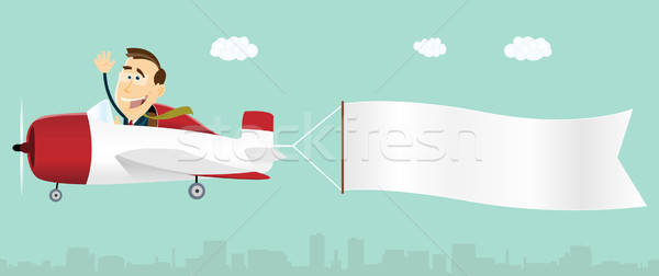 Bannière publicité avion illustration cartoon affaires Photo stock © benchart