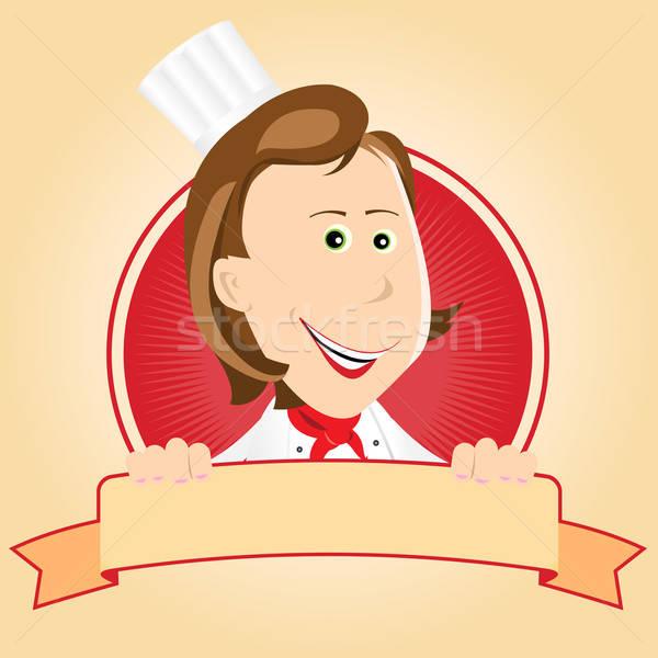 Food Banner - Chef Woman Stock photo © benchart