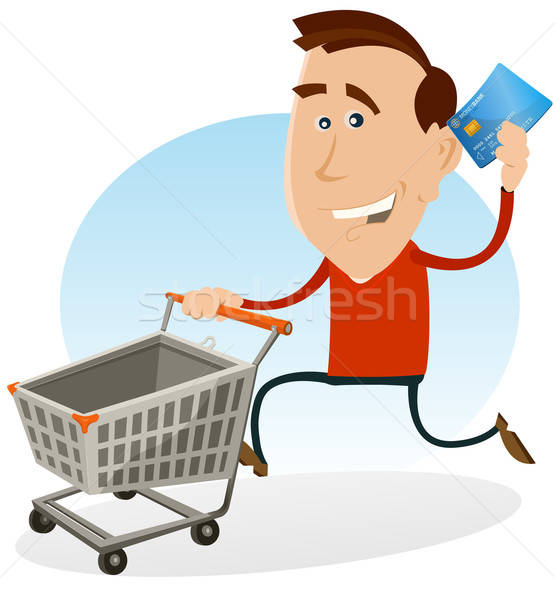 Happy Man Shopping With Credit Card Stock photo © benchart