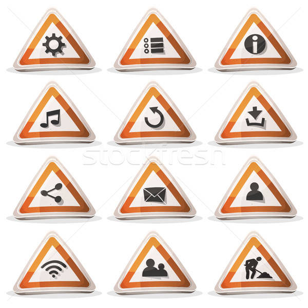 Road Sign Icons And Buttons For Ui Game Stock photo © benchart