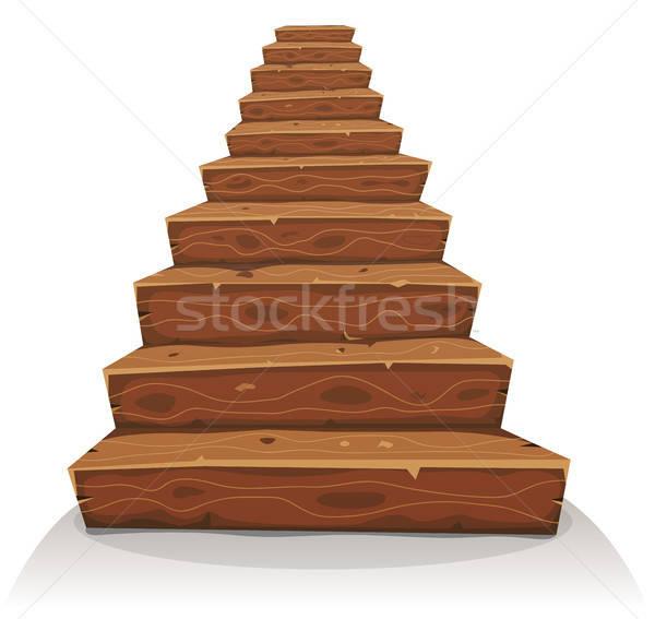 Rajz fa lépcsősor illusztráció vicces fából készült Stock fotó © benchart