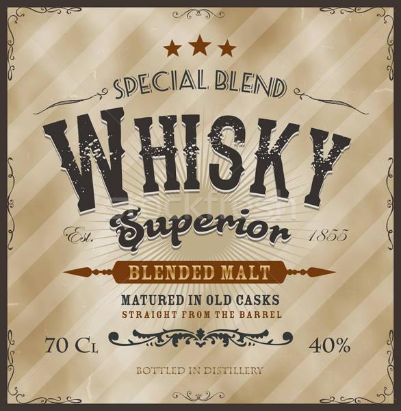 Whisky label fles illustratie vintage ontwerp Stockfoto © benchart