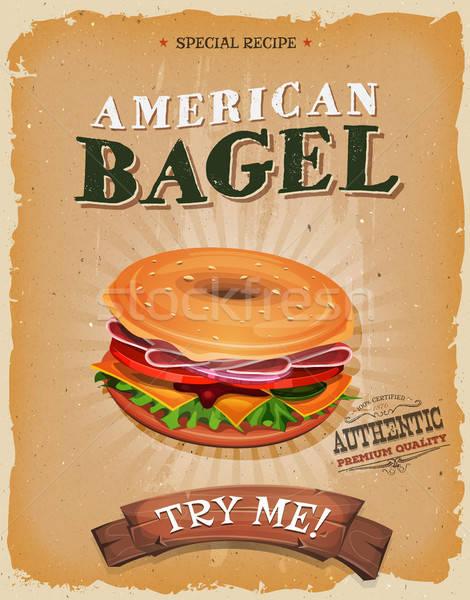 American Bagel Snack Poster Stock photo © benchart
