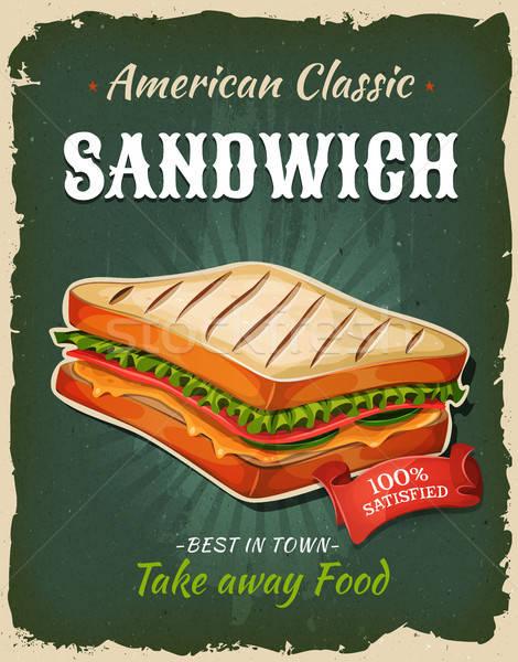 Retro Fast Food Sandwich Poster Stock photo © benchart