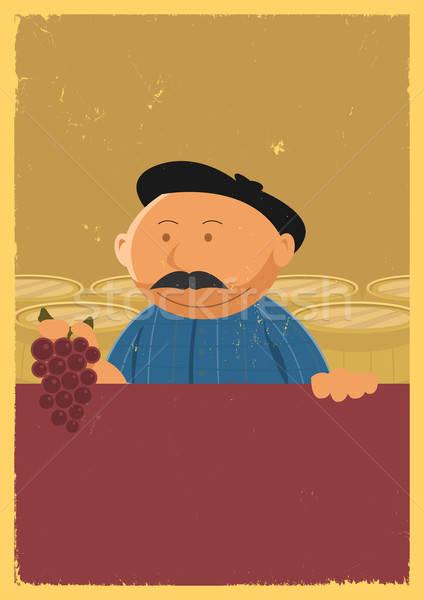Winemaker Holding Grape Vine Poster Stock photo © benchart