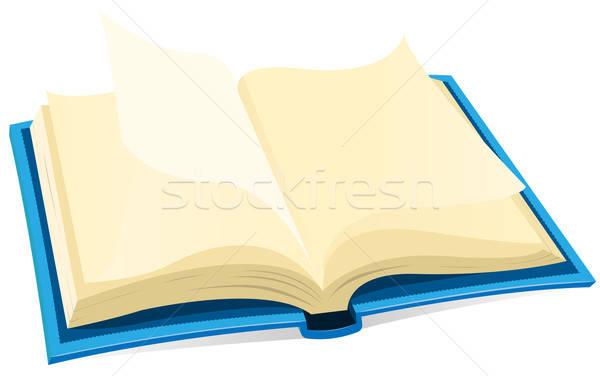 Otwarta księga ikona ilustracja niebieski pokryty pracy Zdjęcia stock © benchart