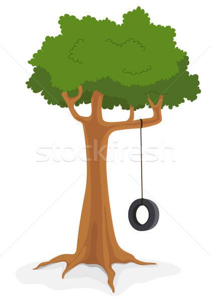 árvore balançar ilustração desenho animado folhas plantas Foto stock © benchart