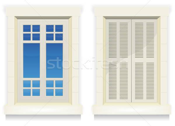 Home finestra sveglio illustrazione esterno Foto d'archivio © benchart