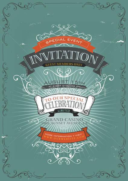 Vintage Invitation Poster Background Stock photo © benchart