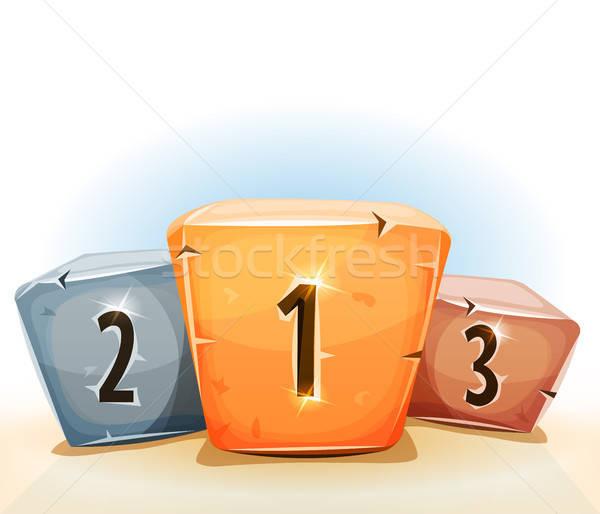 Díjak nyertesek pódium játék ui illusztráció Stock fotó © benchart