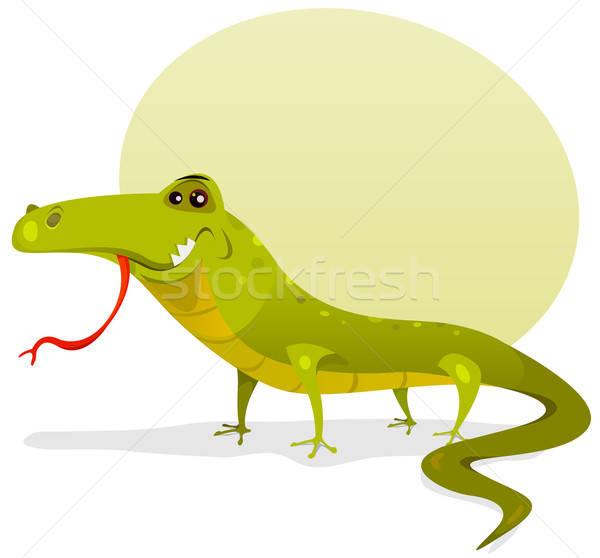 Desenho animado feliz lagarto ilustração engraçado bonitinho Foto stock © benchart
