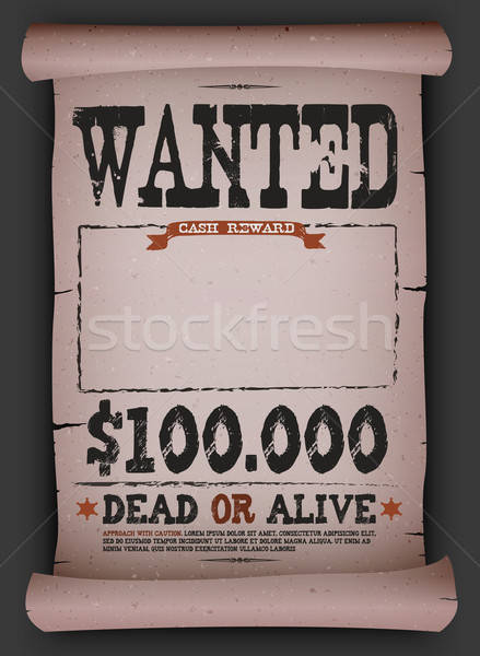 Wanted Vintage Poster On Parchment Stock photo © benchart