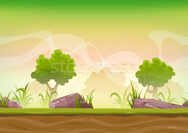 Végtelenített erdő tájkép ui játék illusztráció Stock fotó © benchart