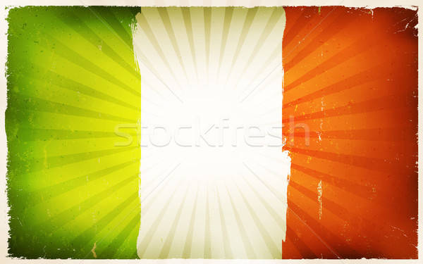 Vintage ирландский флаг плакат иллюстрация горизонтальный Сток-фото © benchart