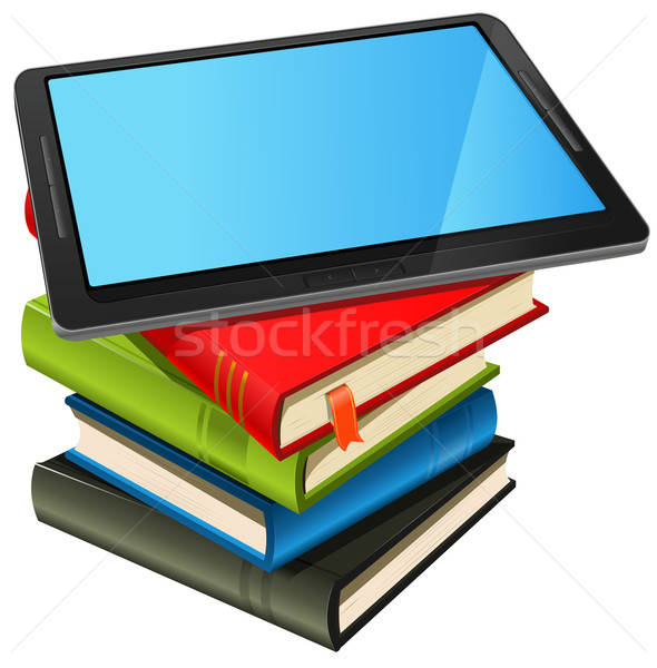 Book Stack And Blue Screen Tablet PC Stock photo © benchart