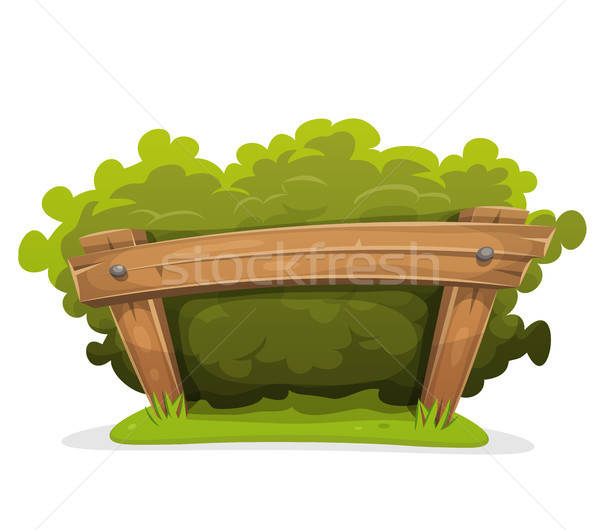 Cartoon Hedge With Wood Barrier Stock photo © benchart