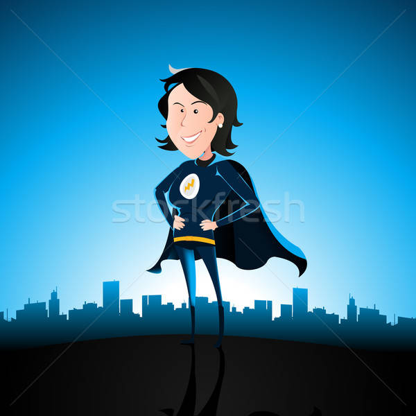 Cartoon Blue Super Lady Stock photo © benchart