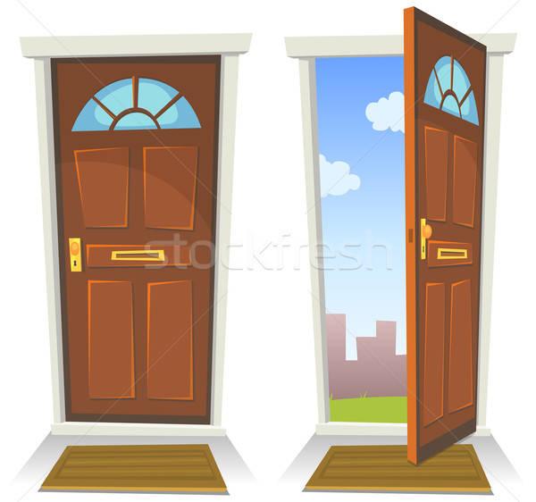 Cartoon Red Door, Open And Closed Stock photo © benchart