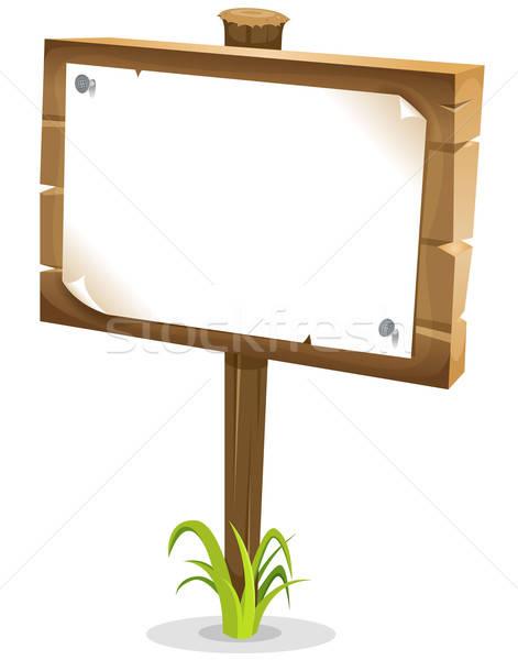 Cartoon Wood Sign Stock photo © benchart