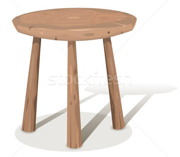 Hout kruk illustratie cartoon houten tabel Stockfoto © benchart