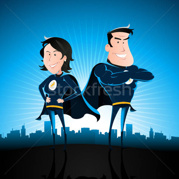 Blue Superhero Man And Woman Stock photo © benchart