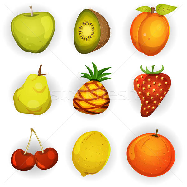 Cartoon Fruit Icons Set Stock photo © benchart