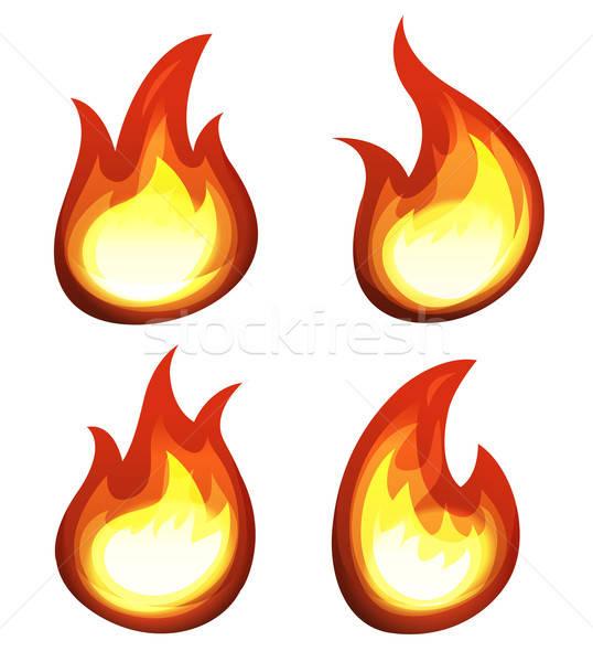Cartoon fuoco fiamme set illustrazione elementi Foto d'archivio © benchart