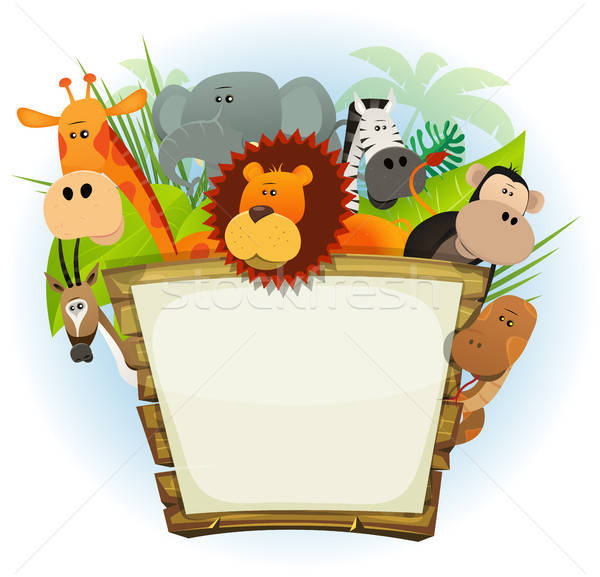 Animaux sauvages zoo bois signe illustration cute Photo stock © benchart