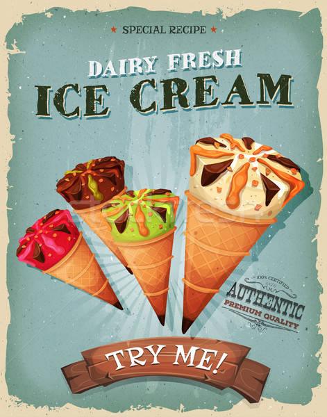 Grunge vintage crème glacée affiche illustration design Photo stock © benchart