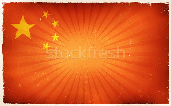 Vintage China Flag Poster Background Stock photo © benchart