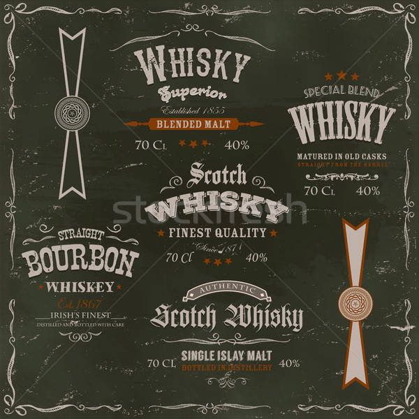Whisky Labels And Seals On Chalkboard Background Stock photo © benchart