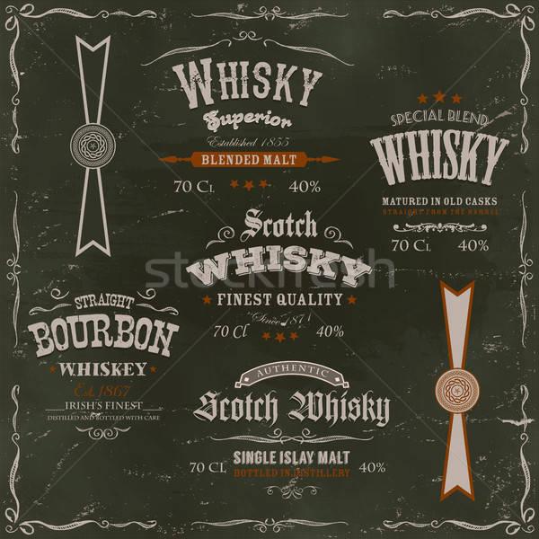 Whisky schoolbord illustratie vintage ontwerp Stockfoto © benchart