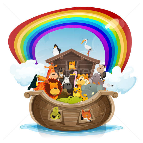 Noah's Ark With Rainbow Stock photo © benchart