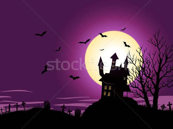 Cartoon halloween illustratie huis Stockfoto © benchart