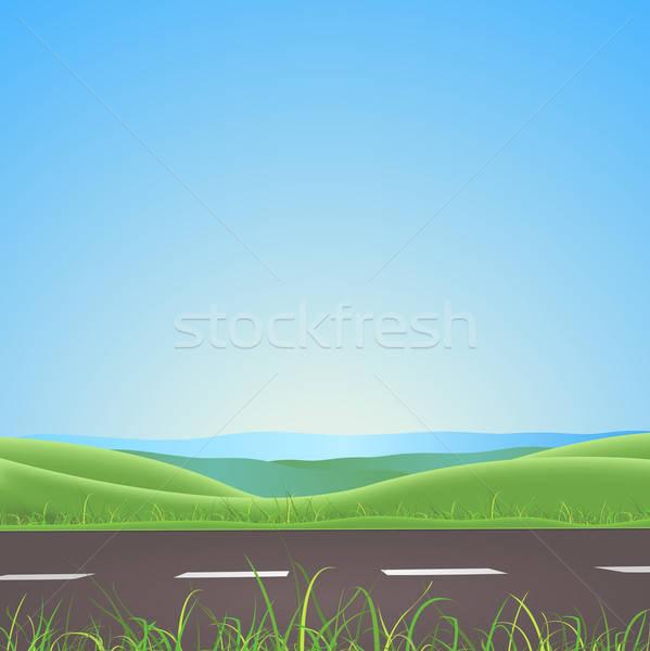 Stock fotó: Tavasz · nyár · út · hegyek · illusztráció · évszak