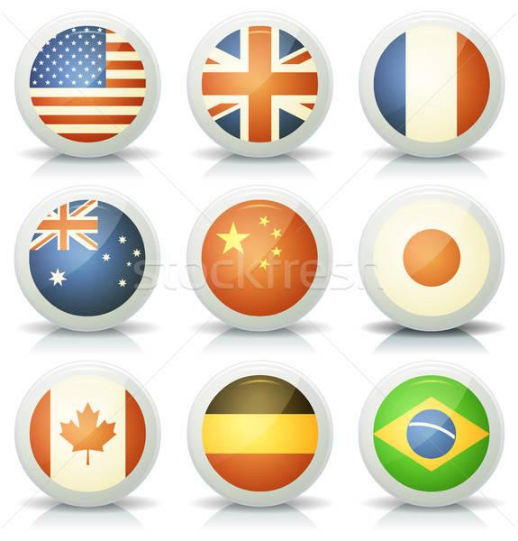 Stok fotoğraf: Parlak · bayraklar · örnek · ayarlamak