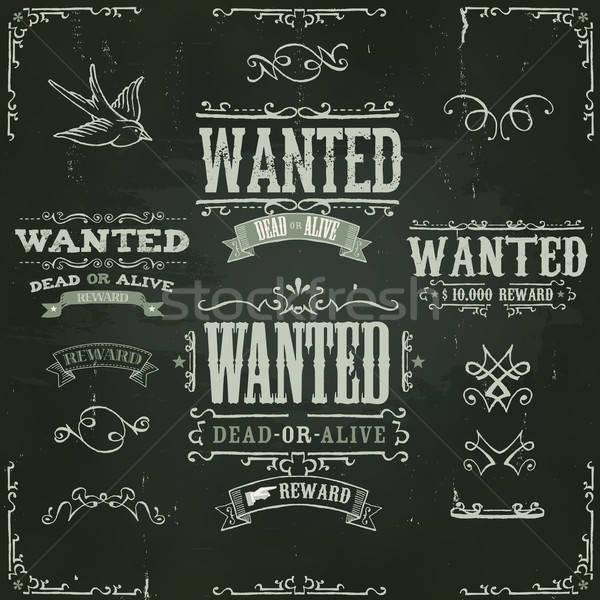 Vintage occidental banners pizarra ilustración Foto stock © benchart