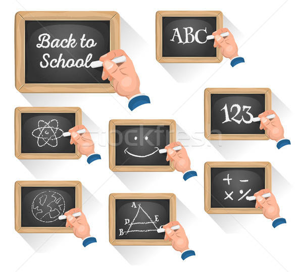 Schoolbord borden school illustratie ingesteld cartoon Stockfoto © benchart